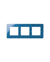 Simon 8200630-221 Marco 3 Elem. Estrellas Azul Índigo