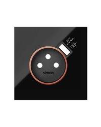 Simon 10000137-138 Tapa con aro rojo para base schuko con cargador USB