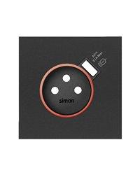 Simon 10000137-238 Tapa con aro rojo para base schuko con cargador USB