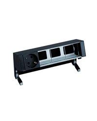 Simon 42401000-138 Kit de sobre mesa personalizable con 1 base de enchufe schuko y 3 elementos vacíos negro Simon 400