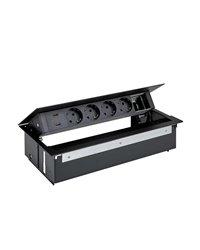 Simon 44624000-138 Kit dentro de la mesa personalizable con tapa y cepillo, cargador 2xUSB, 4 schukos y 1 elemento vacío negro S