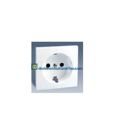 28041-60 Tapa enchufe 2P + T.T. lateral Schuko + seguridad Blanco 16 A 250V