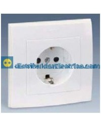2890432-030 Enchufe 2P + TT. lateral Schuko + seguridad monobloc Blanco 16 A 250V