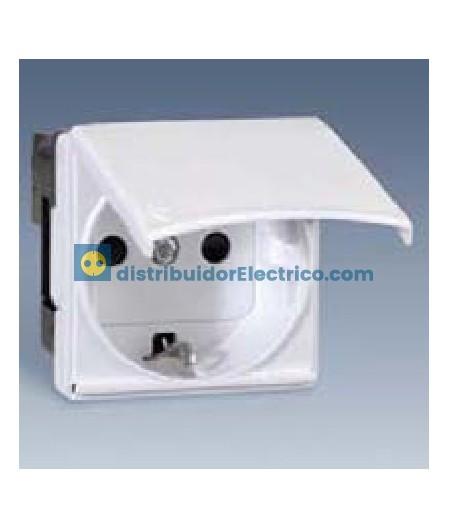 27490-32 - Base de enchufe bipolar, con toma de tierra lateral Schuko, dispositivo de seguridad y tapa 16 A 250 V color marfil