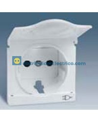 82090-30 Tapa articulada enchufe 2P + TT Schuko + seg. blanco