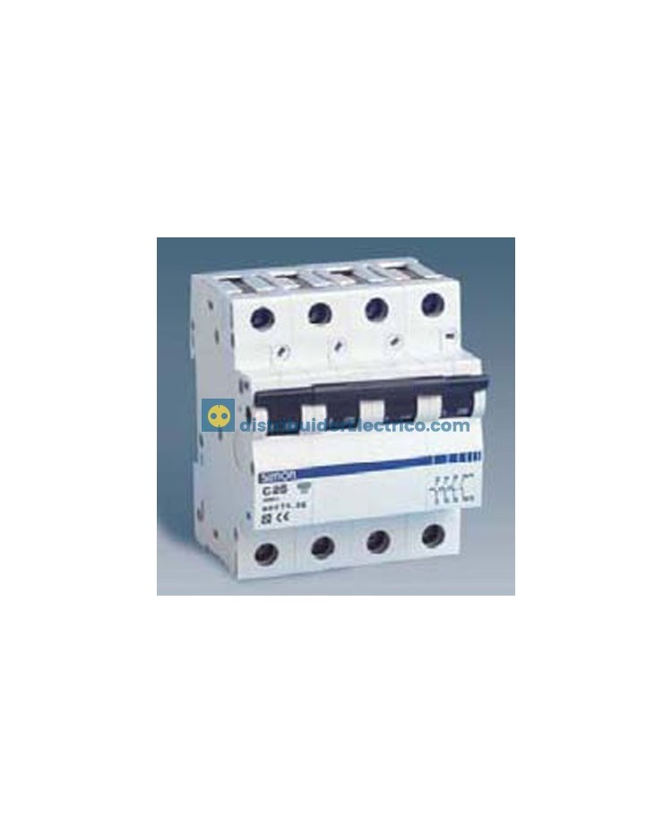 68406-36 - Interruptor automático magnetotérmico 6 KA, 6A, Polos 4, tecla negra, curva C