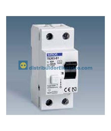 78425-60 - Interruptor diferencial clase AC, sensibilidad 30 mA,  tecla negra, 230V. 25A, 4 polos, 4 modulos.