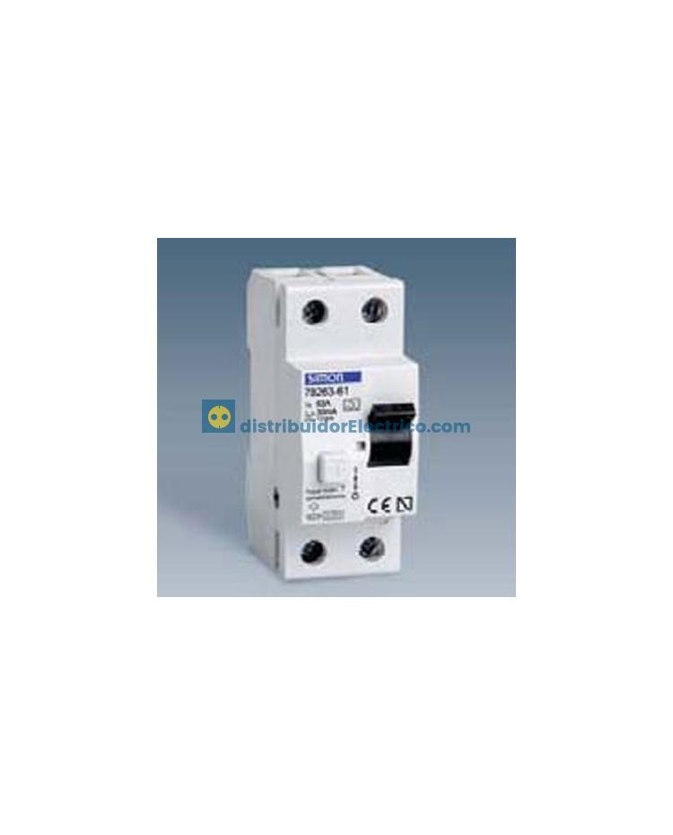 78480-60 - Interruptor diferencial clase AC, sensibilidad 30 mA,  tecla negra, 230V. 80A, 4 polos, 4 modulos.