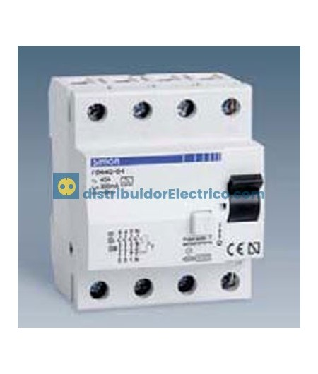 78440-63 - Interruptor diferencial clase AC, sensibilidad 300 mA,  tecla negra, 230V. 40A, 4 polos, 4 modulos.