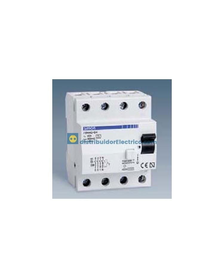78463-63 - Interruptor diferencial clase AC, sensibilidad 300 mA,  tecla negra, 230V. 63A, 4 polos, 4 modulos.