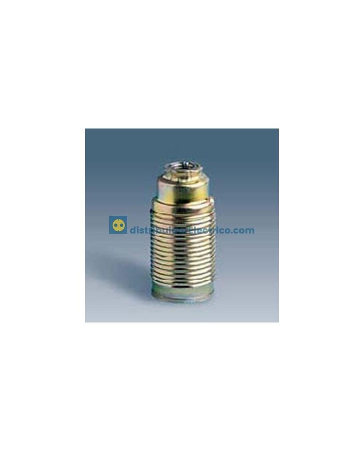 10531-32 - Portalámparas rosca mignon E14, 2 a 250V, acero latonado roscado exterior para pantallas.