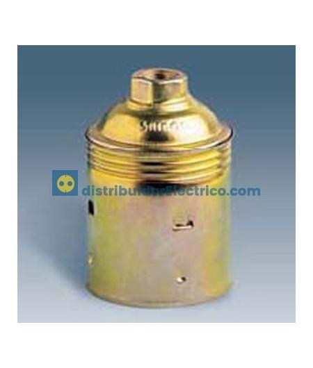00502-35 - Portalámparas rosca normal E27, 4 a 250V, acero latonado-porcelana.