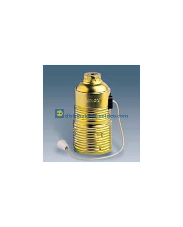 00564-35 - Portalámparas rosxa normal E27 , 4 a 250V, De tirador acero latonado interior.