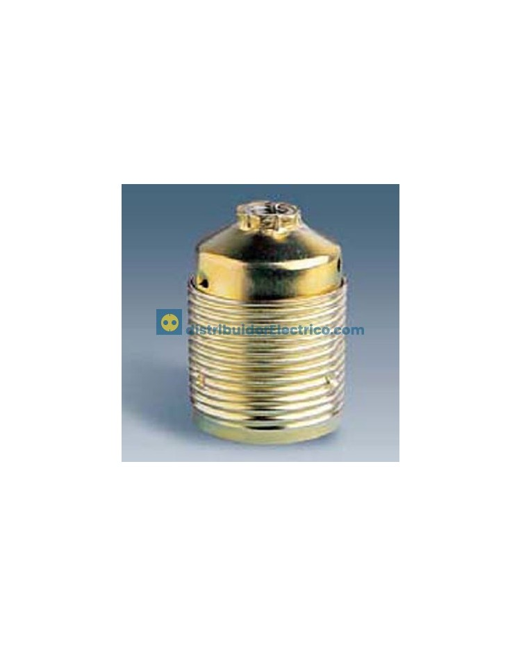 10502-31 - Portalámparas rosca normal E27, 4 a 250V, acero latonado-porcelana roscado exterior para pantallas..