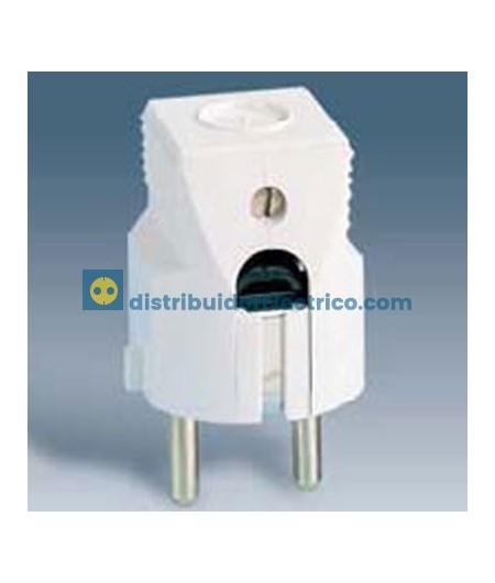 10451-31 - Clavijas de enchufe 16A 250V. Bipolar con contacto de tierra lateral schuko termoplástico. Salida cable lateral.