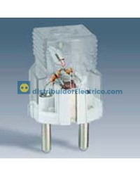 04132-61 - Clavijas de enchufe 16A 250V. Bipolar c/contacto de tierra lateral schuko, transparente  c/indicador luminoso.