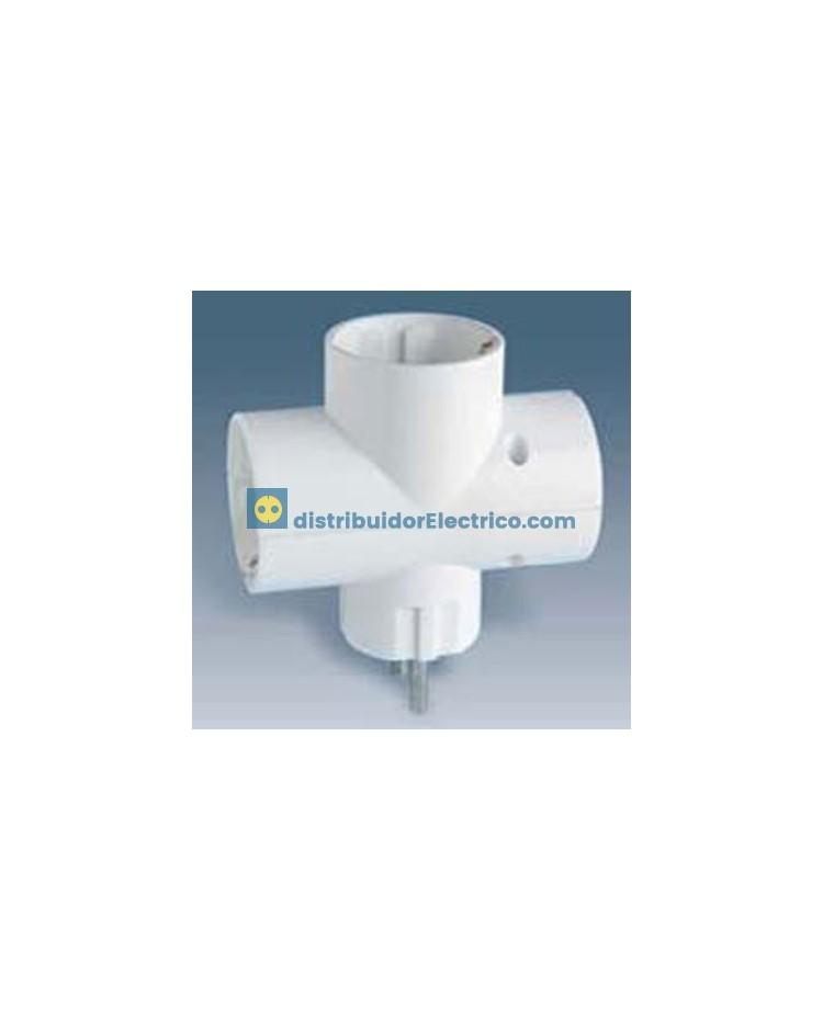 10106-31 - Clavijas de enchufe 16A 250V. Adaptador multivia 3 derivaciones. 3680W.