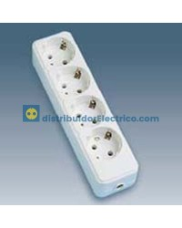 10404-31 - Bases enchufe multiple de superficie 16A 250V, 4x2P+TT lateral.