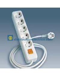 10425-31 - Bases enchufe multiple Bipolar, de superficie 16A 250V, 5x2P+TT lateral.+int.+cable.
