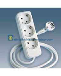 10413-31 - Bases enchufe multiple Bipolar, de superficie 16A 250V, 3x2P+TT lateral.con cable de 1,5 m. de longitud.
