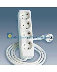 10414-31 - Bases enchufe multiple Bipolar, de superficie 16A 250V, 4x2P+TT lateral.con cable de 1,5 m. de longitud.