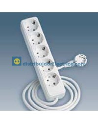 10415-31 - Bases enchufe multiple Bipolar, de superficie 16A 250V, 5x2P+TT lateral.con cable de 1,5 m. de longitud.