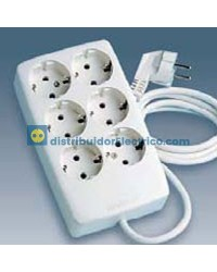 10475-31 - Bases enchufe multiple Bipolar, de superficie 16A 250V, 6x2P+TT lateral.con cable de 1,5 m. de longitud.